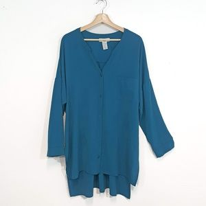 Moa Moa Hi-Lo Button Up Tunic Blouse 2x